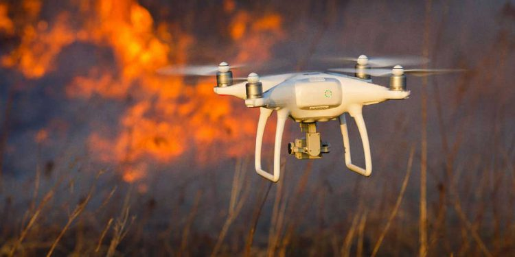 drone in wildfire