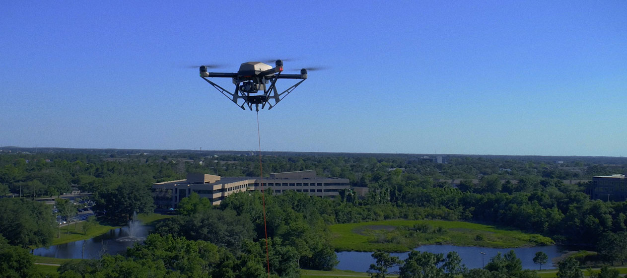 Hoverfly tethered drone in flight. Drones are aerial assets that are used widely across the government, and tethered drones can hover above tactical operators for months, if necessary.