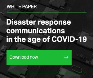 Right-hand button ad for the white paper called Disaster response communications in the age of COVID-19