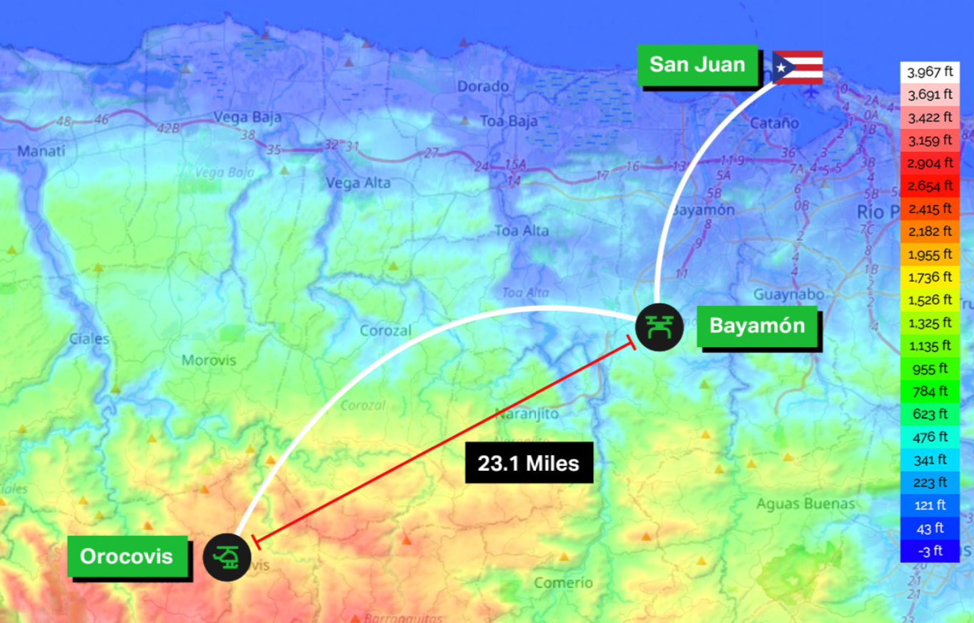 Topographic map of goTenna Pro testing sites in San Juan, Bayamon and Orocovis showing a max of 23.1 miles of connectivity using a drone in Bayamon and a helicopter over the mountain in Orocovis.