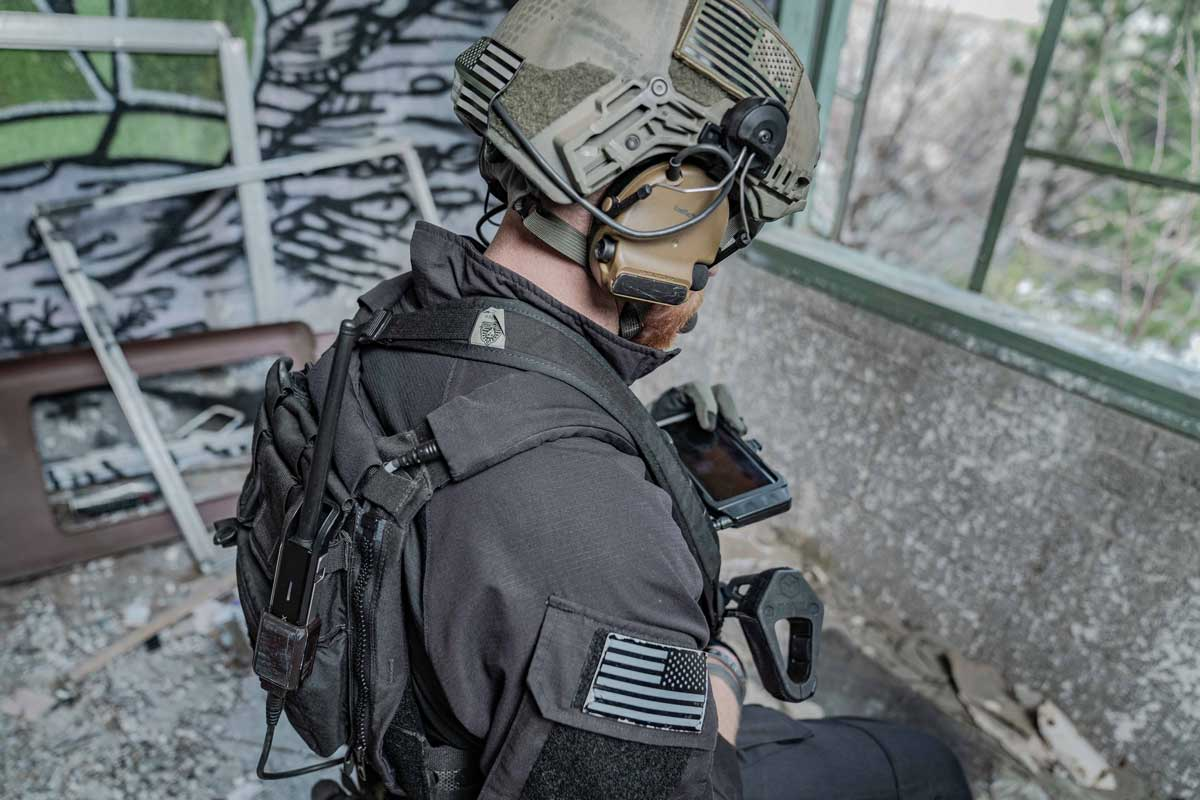 SWAT team tactical team member using the goTenna Pro Tether Cable Kit
