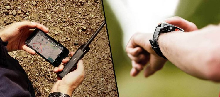A user holding a smartphone and a goTenna Pro vs. a person using a GPS watch
